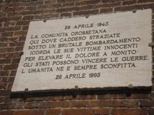 Lapide a ricordo del bombardamento del 26 aprile del 1943