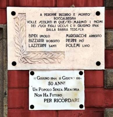 Lapide in ricordo della strage di Roccalbegna.