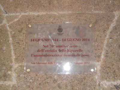 Targa commemorativa affissa dal Comune di Sorano per il Settantesimo della Liberazione.