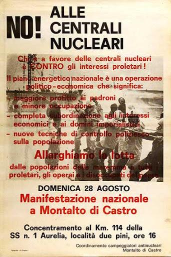 Una locandina di repertorio dedicata alla manifestazione contro il nucleare per la centrale di Montalto